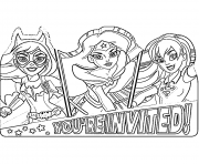 Printable DC Super Hero Girls Invitations coloring pages