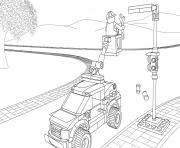 Printable Lego City Light Repair Truck coloring pages