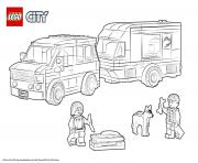 Printable Lego City Van and Caravan coloring pages