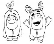 Printable oddbods having fun coloring pages