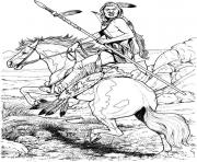 Printable Native American on Horse coloring pages