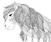 Printable zendoodle design of horse for adult coloring pages