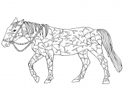 Printable doodle horse design floral adulte coloring pages