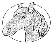 Printable horse head adult zentangle coloring pages