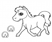 Printable paw print with horse kid coloring pages
