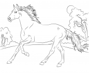 Printable running arabian horse coloring pages