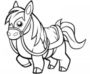 Printable funny horse for kids coloring pages