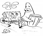 spongebob and patricks play music coloring pages