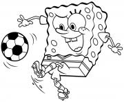 spongebob play soccer coloring pages