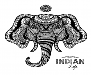 elephant indian adult zentangle