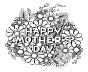 Printable happy mothers day for adult flowers nature coloring pages