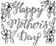 Printable Happy Mothers Day May Flowers coloring pages