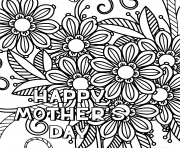 Printable happy mothers day adult mlack and white coloring pages