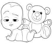 Printable Boss Baby and Teddy Bear coloring pages