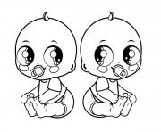 Printable Baby Twins coloring pages
