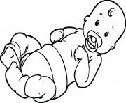 Printable Baby with Pacifier coloring pages