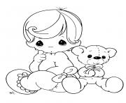 Printable baby doll teddy bear coloring pages