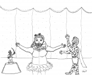 Printable Bearded Lady Little General and Tatooed Man coloring pages