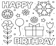 happy birthday black and white flowers