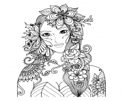 Printable beautiful fairy of the forest adult coloring pages