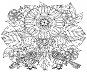 Printable flowers and of butterflies for adult art therapy coloring pages