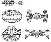 Printable star wars vaisseaux emoji coloring pages
