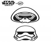Printable star wars stormtrooper emoji coloring pages