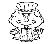 Printable funny uncle sam cartoon which is holding america coloring pages