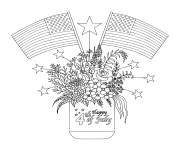 Printable american flags on flowers and decorations on a mason jar coloring pages