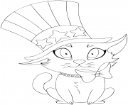 Printable a kitten wearing a hat and bow designed as the american flag coloring pages