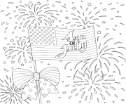 Printable american flag with firework happy 4th of july coloring pages