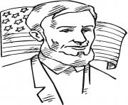 Printable lincoln in front of american flag coloring pages
