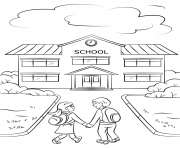 Printable boy and girl going to school coloring pages