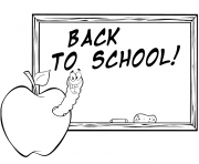 Printable happy worm in apple in front of school chalk board coloring pages
