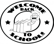 Printable mascot bookworm with text back to school coloring pages
