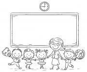 Printable Teacher and Kids Back to School coloring pages