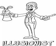 Printable professions illusionist coloring pages