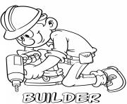 Printable professions builder drill coloring pages