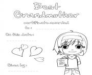 Best Grandmother Certificate to Color