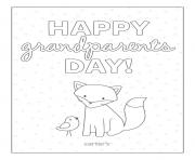Happy Grandparents Day Card to Color