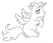 Printable chibi unicorn with heart coloring pages