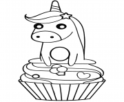 Printable unicorn on cupcake coloring pages