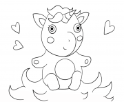 Printable cute baby unicorn coloring pages