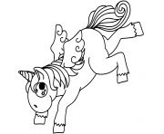 Printable bucking cartoon unicorn coloring pages