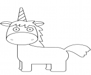 Printable cartoon unicorn horn coloring pages