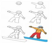 how to draw snowboard