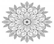 Printable mandala leaves and flowers coloring pages