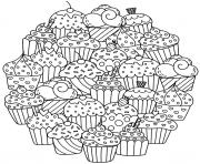 Printable mandala delicious cupcakes coloring pages