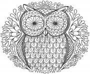 Printable mandala to download magical owl coloring pages