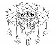 Printable mandala owl dreamcatcher coloring pages
